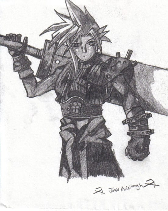 17 game character combined into one pencil drawing by