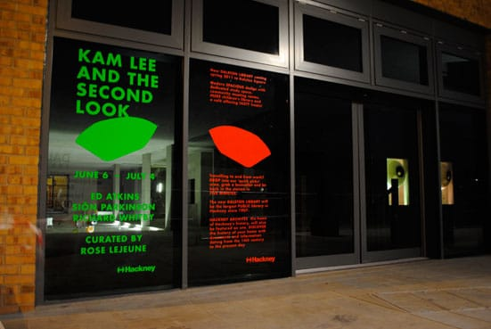 Rose Lejeune presents: Kam Lee and the Second Look An exhibition by Ed Atkins, Sion Parkinson and Richard Whitby, in the space of the new library at Dalston Square — Kam Lee and the Second Look. Photography by James Lander.