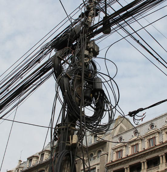 Unruly telephone cabling, Bucharest