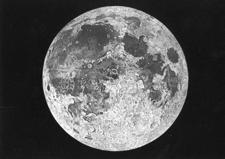 John Russell, R.A. Engraving of the moon, showing the 'impossible' image of the whole visible surface of the moon illuminated obliquely, published posthumously in 1806Scanned from a postcard from the Museum of the History of Science, Oxford www.mhs.ox.ac.uk